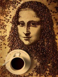 Lavazza Coffee Machines / Coffee art of the Mona Lisa. I Love Coffee, Coffee Break, Coffee Shop, Coffee Lovers, Coffee Maker, Coffee Life, Coffee Bean Art, Coffee Cups, Espresso Coffee