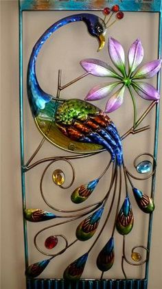 28 8 in Fusion Glass and Metal Peacock Wall Decor Deck Fence Garden Home Patio Peacock Painting, Peacock Art, Peacock Theme, Wire Crafts, Rock Crafts, Peacock Wall Decor, Custom Stained Glass, Stained Glass Patterns, Wire Art