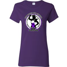 Pancreatic Cancer Too Tough For Cancer...I'm a Survivor slogan on Women's T-Shirt featuring a female silhouette posing with strength and an awareness ribbon for activism