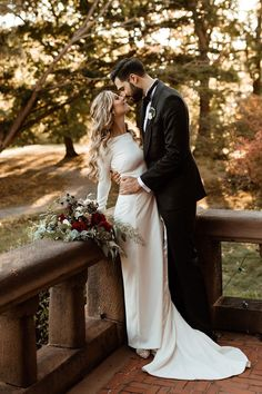Thoughtful details, like lace at the back and covered buttons on each wrist, elevate this structured crepe gown with a tailored silhouette and long sleeves. Wedding Couple Photos, Wedding Picture Poses, Wedding Poses, Wedding Photoshoot, Wedding Couples, Wedding Portraits, Wedding Ideas, Wedding Bride, Lace Bride