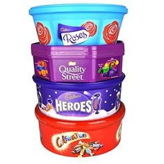Christmas Chocolate Tubs – 4 PACK – Roses, Heroes, Quality Street AND Celebrations – Nearly 3Kg of chocolate!: This collection contains: 1…