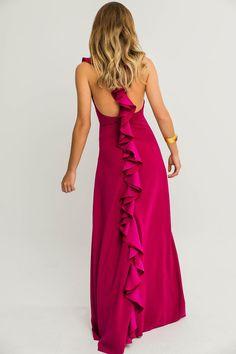Comprar online vestido largos con la espalda abierta volantes frambuesa ajustado sin mangas crepe para invitada de boda eventos graduacion coctel vestidos para boda de tarde