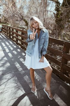 The boyfriend jacket you will wear ALL season long is now available on They are selling pretty quick though so make sure… Cara Van Brocklin, Cara Loren, Spring Sandals, Summer Outfits, Boyfriend, Shirt Dress, My Style, Pretty, How To Wear