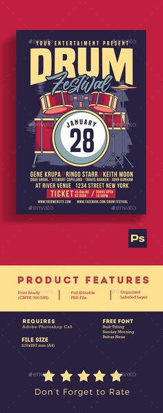 Drum Music Festival Flyer Template PSD