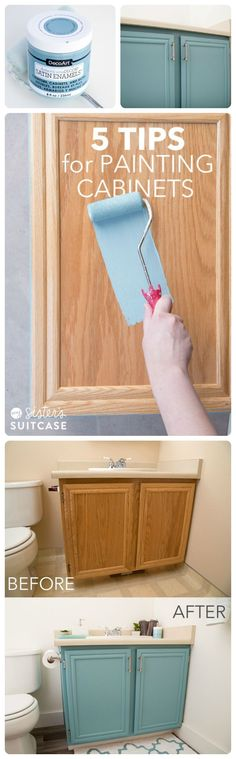 Kitchent Cabinets Makeover Teal-ish cabinets for hall bathroom - Step-by-step tutorial showing you how I painted my bathroom cabinets without sanding them! I'm also sharing 5 tips for painting any cabinets in your home! Diy Bathroom, Hall Bathroom, Master Bathroom, Bathroom Ideas, Bathroom Vanities, Bathroom Layout, Bathroom Interior, Kids Vanities, Design Bathroom