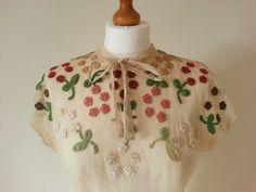 Beautiful 1930s silk tulle top with crochet by EllaandFrankVintage, £70.00