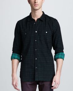 7 For All Mankind Two-Pocket Plaid Shirt in two green tones