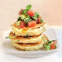Corn and zucchini pikelet stack with tomato salsa Healthy Anzac Biscuits, Cooking Recipes, Healthy Recipes, Healthy Food, Braised Greens, Canning Sweet Corn, Balsamic Glazed Chicken, Small Tomatoes, Low Sodium Recipes