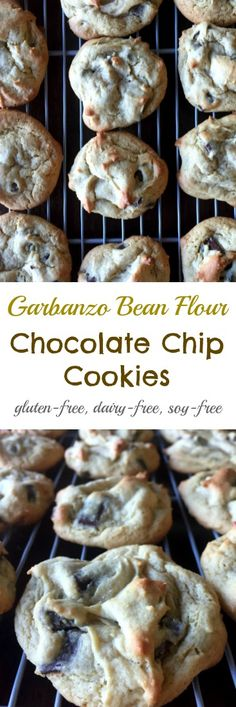Garbanzo bean flour chocolate chip cookies! Everyone needs a go-to chocolate chip cookie recipe and if you're gluten, dairy and soy free - this is it! These cookies are amazing, and I promise you won't miss the butter and wheat flour that you usually find in cookies.