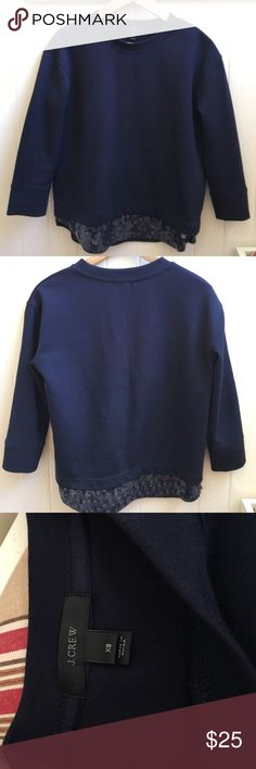 """J. Crew Sweater Navy Blue Sweater with sequins bottom. Medium weight sweater measures 24"""" in front and about an inch longer in the back. J. Crew Sweaters"""