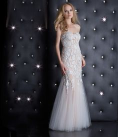 This is a white/nude strapless lace mermaid dress with beautiful lace appliques and ruched skirt. FEATUR......Price - $498.00-UE0GnkrN