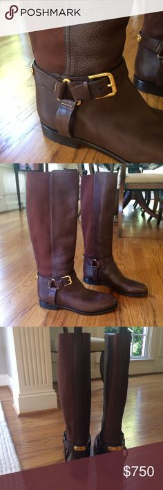 Authentic Ralph Lauren Sabeen Riding Boots Size 8 New with dust bag.  These have been in my closet for too long - sadly, they just don't work on me. Ralph Lauren Shoes Combat & Moto Boots