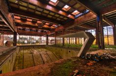 Indoor pool of the Grossinger's Catskill Resort Hotel in the Catskill region of New York State.  It catered to the rich and famous, but was closed in 1986.