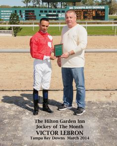 (March 2014)  Jockey of the Month:  Congratulations to Jockey Victor Lebron on being named Tampa Bay Downs' Jockey of the Month. #TampaBayDowns #sports #animals #Florida #jockeys #athlete #awards #racing #horse #WinnersCircle