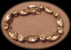 Clear Navette and Round Rhinestone Bracelet by thejeweledbear, $18.00