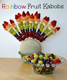 Rainbow Fruit Kabobs...perfect for any play-date or party.   | http://www.ToSimplyInspire.com
