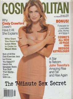 Cindy Crawford - Cosmopolitan Jan 1996 by Scavullo Cosmopolitan Magazine, Instyle Magazine, Vogue Magazine, Jessica Jung, Sex And Love, New Love, Cosmo Girl, Kim Woo Bin, John Travolta