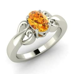 Oval-Cut Citrine Ring in 14k White Gold