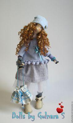 Купить Текстильная каркасная кукла. Авторская работа - голубой, Новый Год, подарок, снегурочка, зима