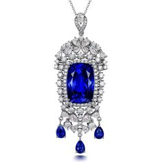 Stunning 21.56ct Natural Blue Tanzanite in 18K Gold Pendant by CHARMES Jewellery