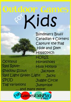 Fun outdoor games kids like to play!  Rules, set up instructions and variations for Octopus, Red Rover, Shadow Scout, Hopscotch, Hula Hoopla, Jackpot, Jacks, Tag, SPUD and many more!   #outdoor #games #kids http://www.fungameskidsplay.com/outdoorgames.htm