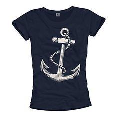 Camiseta de manga corta para mujer, en color azul, y con un ancla estampada.