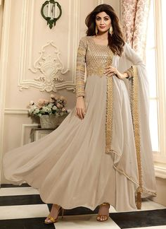 Shilpa Shetty Off White Faux Georgette Embroidered Work Floor Length Anarkali Suit