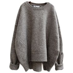 Loose Wool O-neck Sweater (€50) ❤ liked on Polyvore featuring tops, sweaters, shirts, jumpers, loose shirt, woolen jumper, loose tops, loose fit sweater and cut loose tops