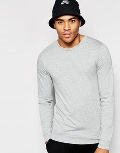 ASOS | ASOS Muscle Long Sleeve T-shirt In Gray at ASOS