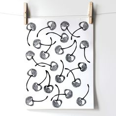 cherry linocut print pattern - block printing, stamp, printmaking, fruit series, cherries