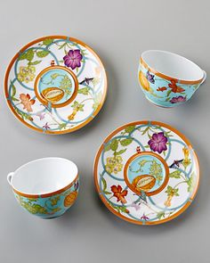 Hermes 'Siesta Island' Set of Two Porcelain Teacups & Saucers Tea Cup Saucer, Tea Cups, Hermes, Ceramic Coffee Cups, Teapots And Cups, Tea Service, My Cup Of Tea, Chocolate Pots, China Patterns