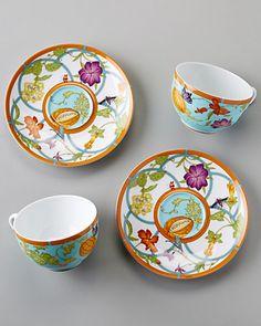 Hermes 'Siesta Island' Set of Two Porcelain Teacups & Saucers
