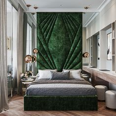 Beautiful blue bedroom decor with extra tall headboard bed Beautiful blue bedroom decor with extra tall headboard bed luxury modern bedroom with blue bed Modern Interior Decor, Luxury Master Bedroom Design, Blue Bedroom Decor, Luxurious Bedrooms, Gorgeous Bed, Affordable Interiors, Art Deco Bedroom, Modern Interior, Interior Deco