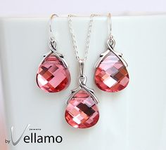 Sparkly pink Swarovski jewelry set with earrings and by byVellamo, $45.00