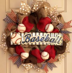 Burlap baseball wreath  by OnMyFrontDoor on Etsy…