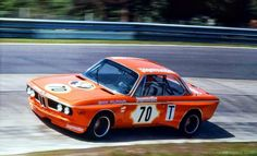 Early 1973 Jägermeister Alpina-BMW 3.0 CSL driven by Niki Lauda and Peter Joisten at the Touringcar Grand Prix 1973. This coupé in the distincive Jägermeister livery, yet without the huge spoilers it got later that year