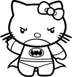 how to draw batman hello kitty - Hello Kitty Drawing Pictures