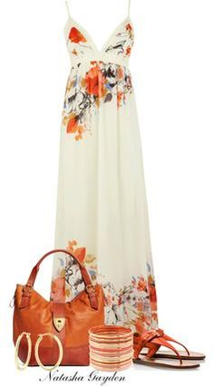 Beautiful Floral Print Dress Outfit