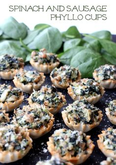 Spicy sausage, three cheeses and spinach in crispy phyllo cups, the perfect bite-sized appetizer!