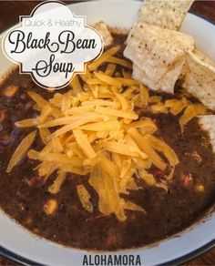 Alohamora: Open a Book: Quick and Healthy Black Bean SoupQuick, fast, and easy to make, healthy vegetarian and gluten free meal.  This Black Bean Soup is amazing!  Flavorful, hearty, and almost chowder like.  Alohamora Open a Book http://www.alohamoraopenabook.blogspot.com/