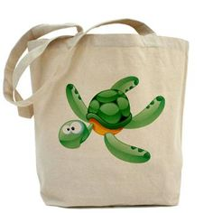 Swimming Cartoon Turtle Tote Bag