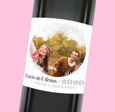 Étiquette de bouteille mariage personnalisable avec une photo des mariés, réf.N300540