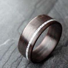 Wooden Ring - Ebony with White Sand Bentwood Ring. $180.00, via Etsy.