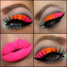 New eye makeup bright colors make up Ideas 80s Makeup, Crazy Makeup, Love Makeup, Beauty Makeup, Pink Makeup, Cheer Makeup, Barbie Makeup, Orange Makeup, Makeup Lips