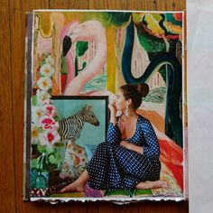 Pink Flamingo Garden - art journal page.  #artjournalpage #artjournal #artjournalpages #collageart #collagejournal #artjournaling #collageartwork #collageonpaper #collagecollectiveco #c_expo #cutandpaste #cutandstick #gluepaperscissors #analogcollage #analoguecollage #analoguecollagecommune #handmadecollage #collageartworks #papercollage #magazinecollage #papercollageart #analogcollagecommune