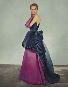 April Vogue 1951 -  Elsa Schiaparelli's Chinese lantern dress, photographed by John Rawlings.