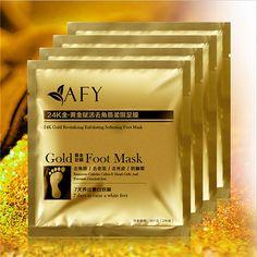 Afy exfoliante máscara de oro del pie de blanqueamiento nutrir la esterilización revitalizante pies cuidados