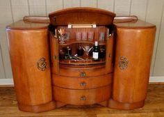 Antique Art Deco Pop Up MARTINI BAR LIQUOR CABINET | Vintage ...