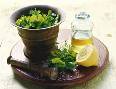 Ingredients for chermoula (herb marinade, Morocco)