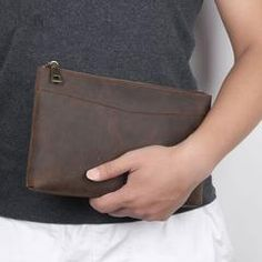 Dark Brown Leather Mens 8 inches Envelope Bag Wristlet Wallet Bag Zipper Clutch Wallet For Men Rfid Wallet, Wristlet Wallet, Leather Clutch, Clutch Bag, Handbags For Men, Small Shoulder Bag, Dark Brown Leather, Large Bags, Long Wallet